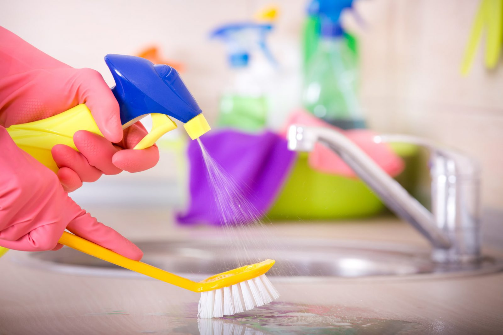 cleaning a kitchen countertop by house cleaning services in Mount Prospect